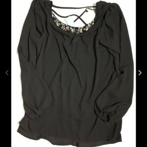 Maurice's Black Sheer Sequin Top L NWT